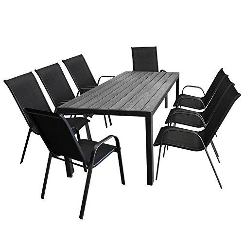 Wohaga 9tlg. Gartensitzgarnitur Alu Gartentisch mit Polywood Tischplatte in Grau, 205x90cm + 8X Stapelstuhl, Textilenbespannung in Schwarz - Gartenmöbel Set Sitzgarnitur Sitzgruppe