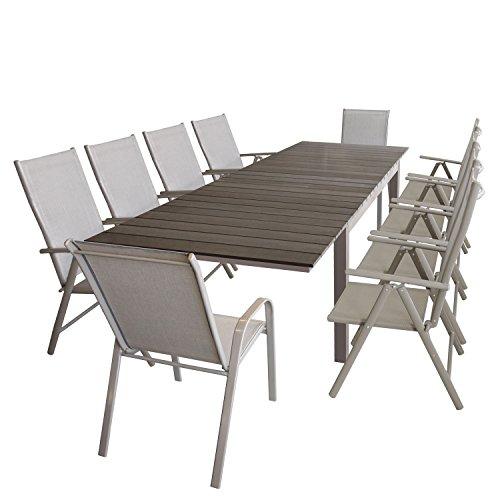 Wohaga Gartenmöbel-Set ausziehbarer Aluminium Gartentisch mit Polywood Tischplatta 160/210/260x95cm + 2X Stapelstuhl mit Textilenbespannung + 8X Alu Hochlehner mit 7fach Verstellbarer Rückenlehne