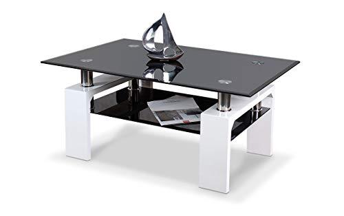 agionda® Couchtisch Diana XLW 90 Hochglanz Weiss lackiert mit schwarzem Glas und Chrom