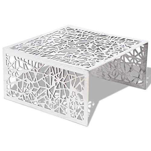 vidaXL Couchtisch Kaffeetisch Silbern Geometrisches Lochmuster Design Aluminium