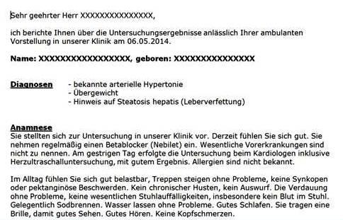 übersetzung Eines Arztbriefes Aus Dem Deutschen Ins Englische
