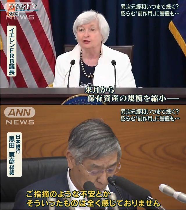 【大丈夫か?】日銀は「金融緩和」継続を決定!FRB(アメリカ)はとっくに緩和を終了し、来月から「資産の縮小」へ!日銀に緩和を迫ったバーナンキは懺悔「私はよく分かっていなかった」