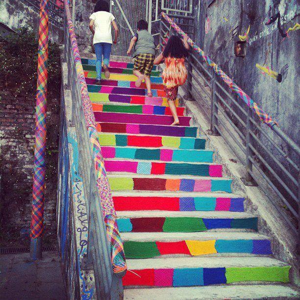 arte callejero: escaleras tejidas de valdivia, chile