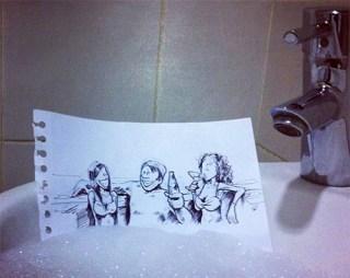 caricatura-baño-burbujas-lavamano-real-troqman