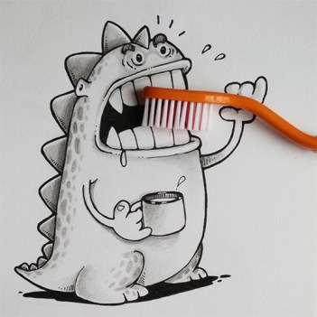 caricatura-dinosaurio-cepillo-dientes-real-manik-n-ratan