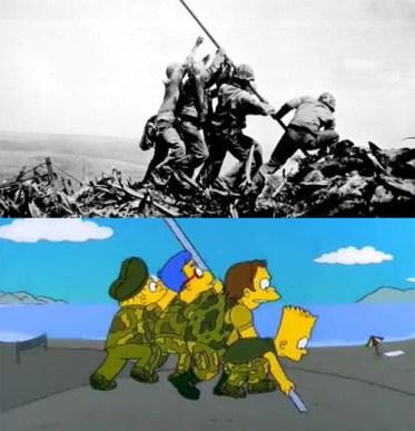 simpson-soldados-izan-bandera-iwo-jima-ww2