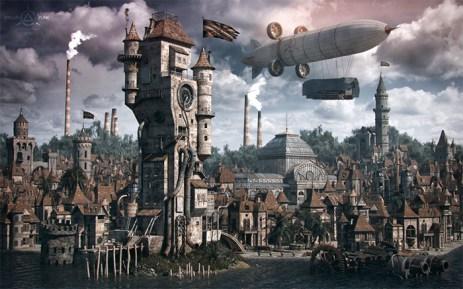 ilustracion-steampunk-ciudad-zepelin-industria-vapor