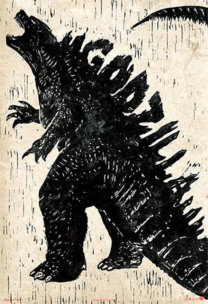 godzilla-gojira-afiche-grabado