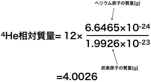 ヘリウムの相対質量の求め方