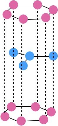 正六角柱の頂点の原子の個数