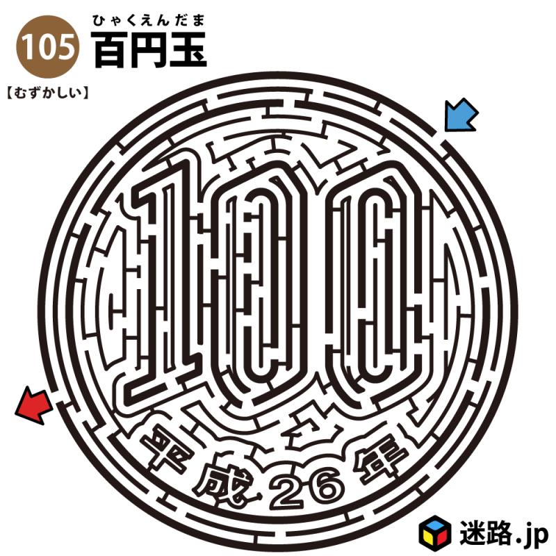 百円玉の難しい迷路