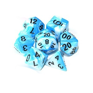 Blue & White Polyhedral Marble Dice Set