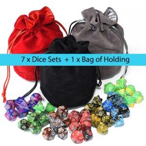 7 x Dice Set Marble Bundle + Satin-Lined Velvet Bag