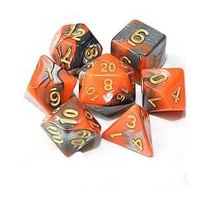 Orange and Silver /w gold Dice Set