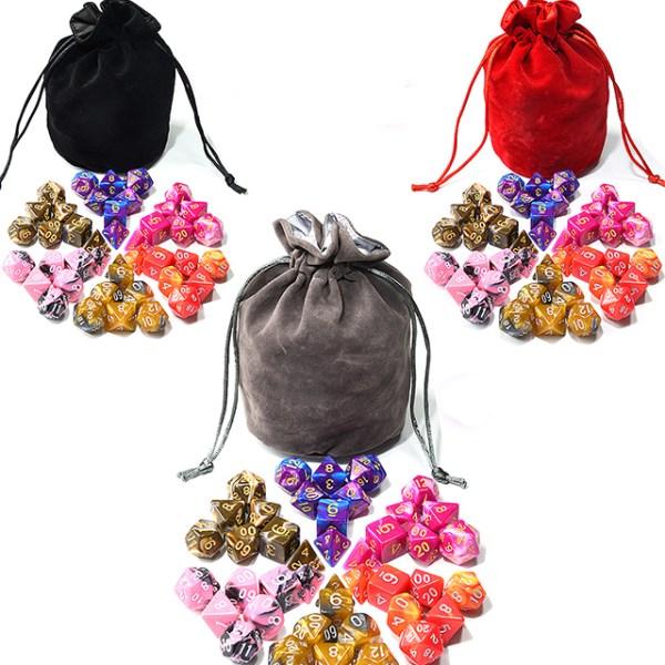 6 x Swirl Dice Set + Satin-Lined Velvet Bag