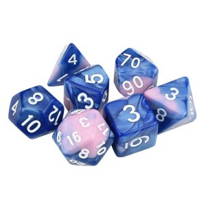 Pink Blue Polyhedral Marble Dice Set