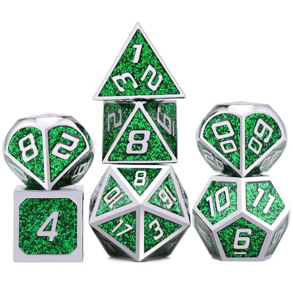 Metal Dice Green Glitter