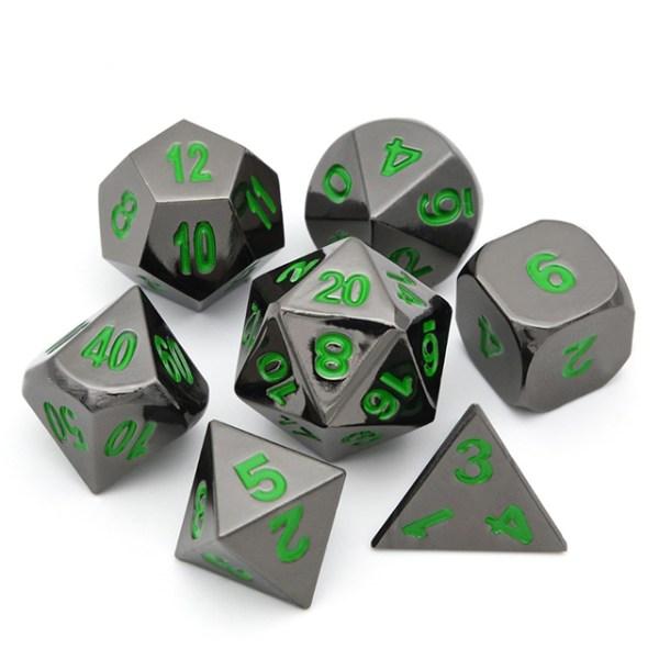 Raven Chrome Metal Dice Set /w Dark Green