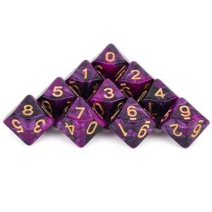 D10 x 10 Cultist Purple Dice