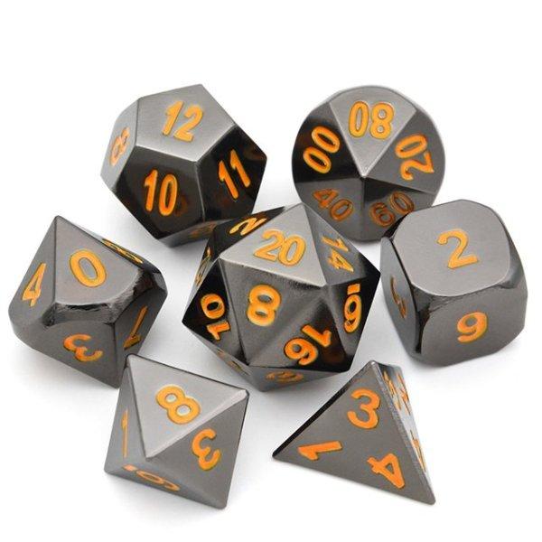 Raven Chrome Metal Dice Set /w Orange