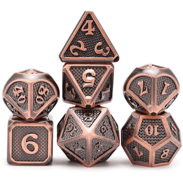 Metal Dice - Dragon Hide - Polished Bronze
