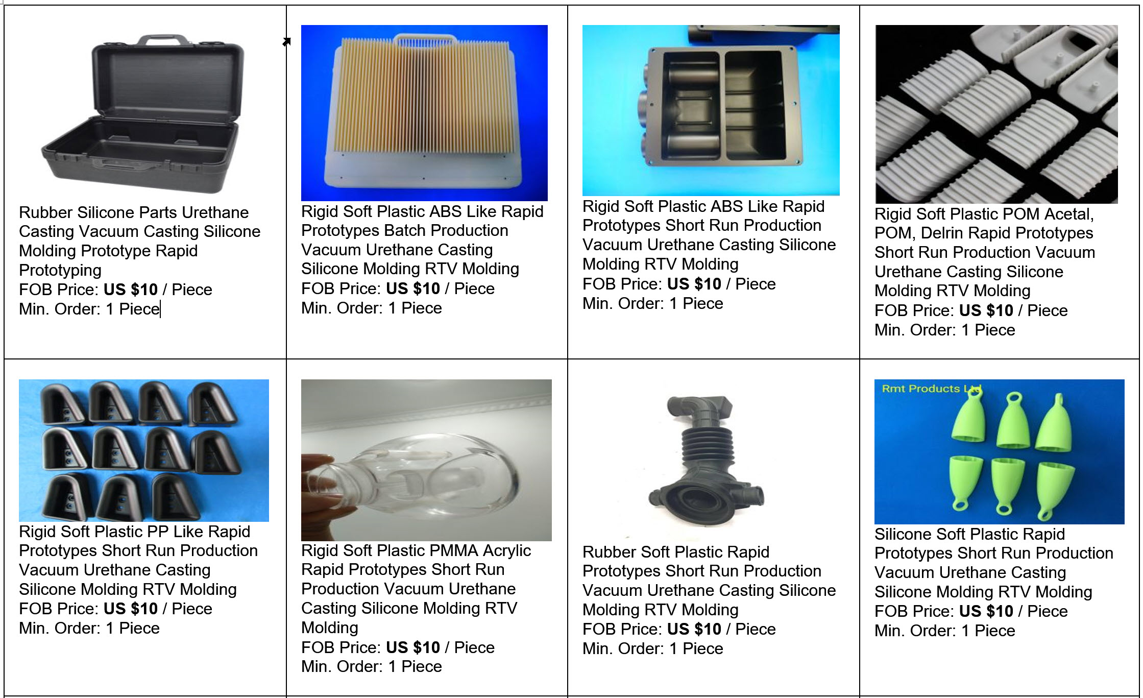 Priseksempler på Prototypeservice indenfor Silicone Støbte emner