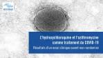 L'hydroxychloroquine et l'azithromycine comme traitement du COVID-19