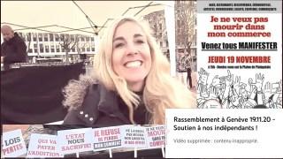 Rassemblement à Genève 19.11.20 – Soutien à nos indépendants ! (2 fois censurée)