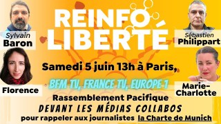 Réinfo Liberté: « Rassemblement pacifique devant BFM TV – rappel journalistes – Charte de Munich »