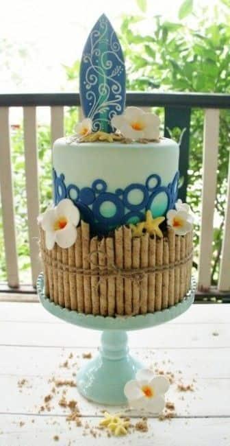 pastel de bodas tropical