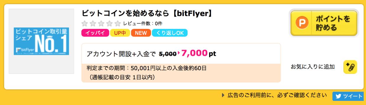 bitFlyer(ビットフライヤー)はじめるならポイントサイトハピタス経由