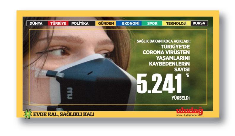 Türkiye'de koronavirüsten ölenlerin sayısı 5 bin 241 oldu