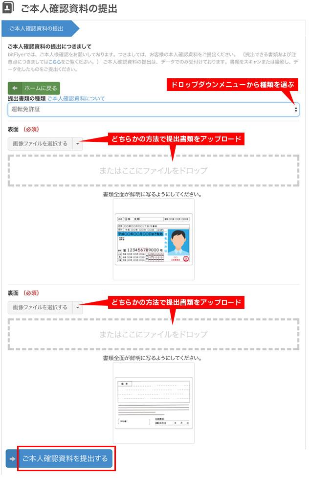 本人確認のための顔写真付きの証明書をアップロード