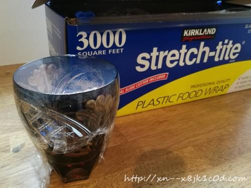 コストコのラップをカップに巻いたところ
