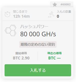 オークションHashing24_80,000Gハッシュ