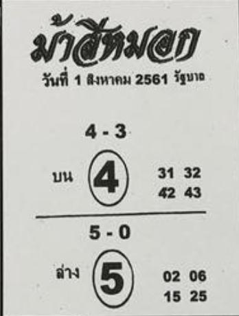 ม้าสีหมอก 1/8/61, ม้าสีหมอก 1-8-61, ม้าสีหมอก 1 ส.ค 61, ม้าสีหมอก, หวยซอง, เลขเด็ดงวดนี้