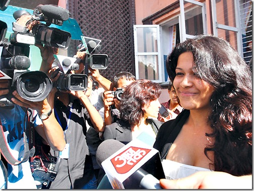 Charles Sobhraj, better known as French serial killer 's fiancée Nihita Bishwas speaks with press after his verdict was postponed on 30th July at Supreme Court in Kathmandu on Wednesday.