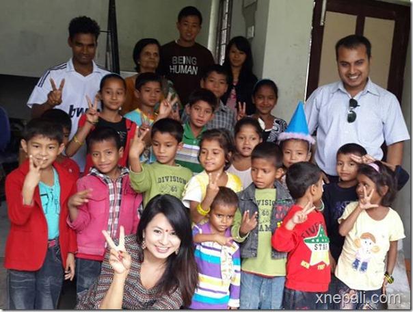 malvika subba with kids at safalta hiv aids institute