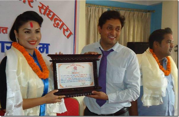 Garima Pant awarded a certificate by nawal khadka