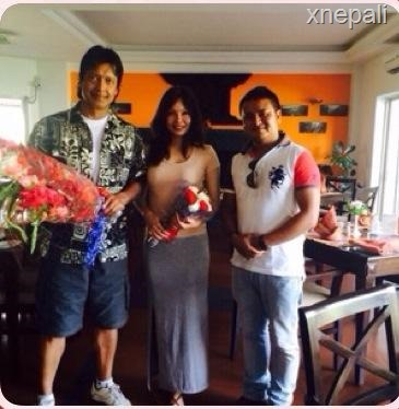 Rajesh Hamal fan from UK sent flowers to the newly married couple (3)