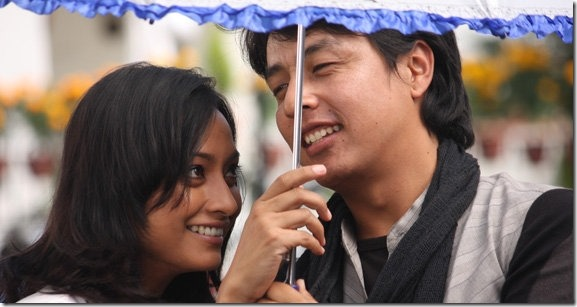 alok nembang with jharana thapa during kohi mero shooting