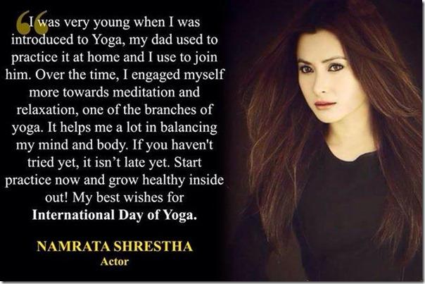 namrata shrestha yoga day message