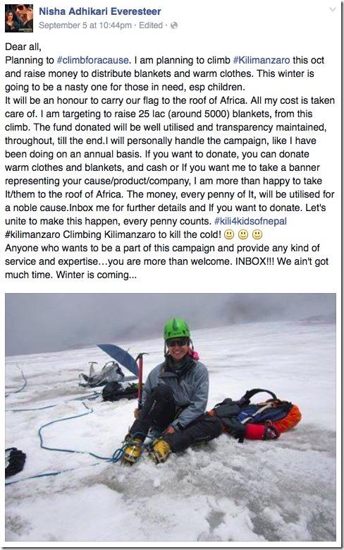 nisha adhikari mountain climbing fund raising plan