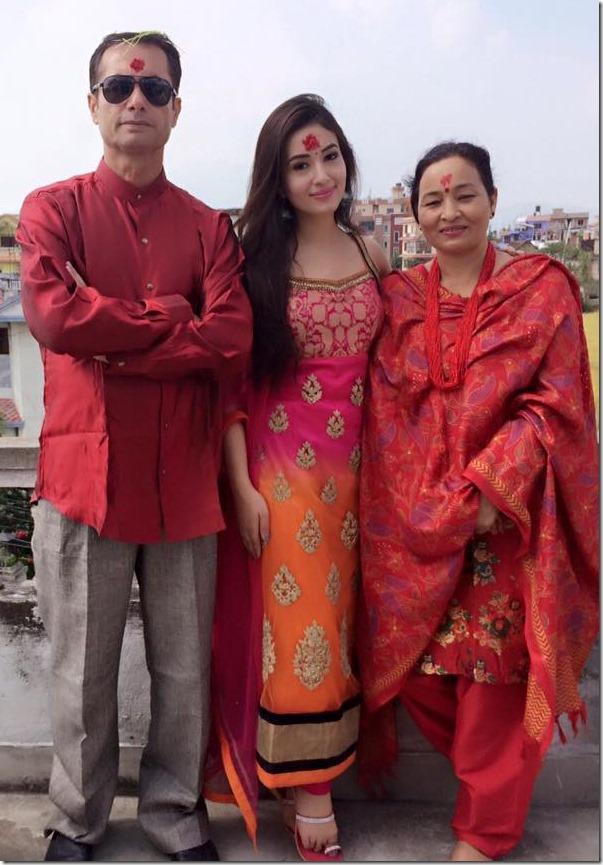 Aditi Budhathoki dashain 2015 with her parents