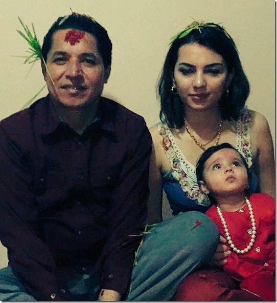 rishi dhamala aliza dhamala and daughter dashain 2015