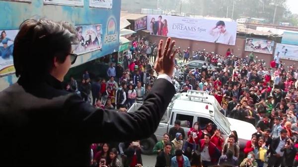 anmol kc greets crowd in Gopi Krishna theater