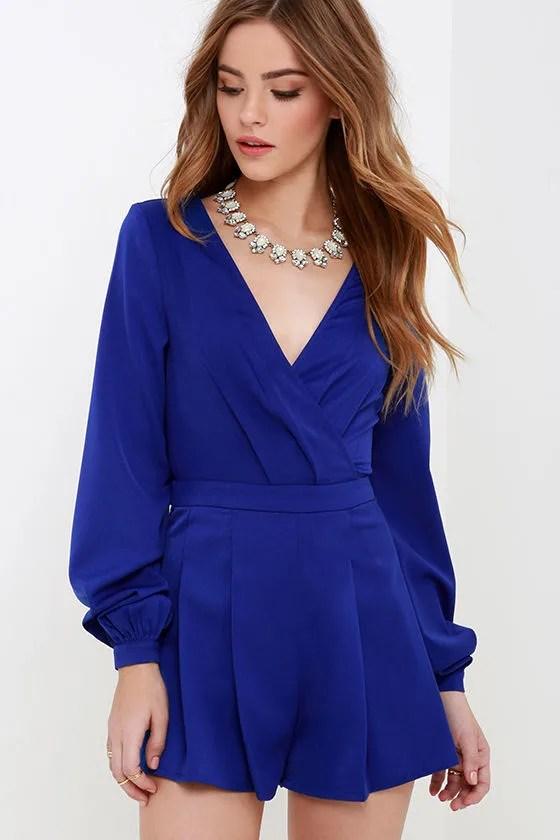 Cute Royal Blue Romper Long Sleeve Romper Pleated