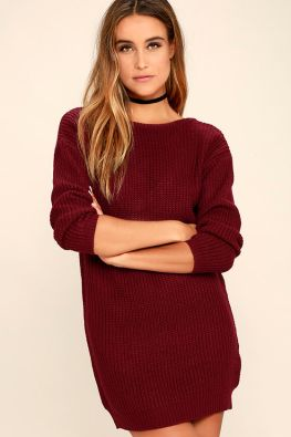 Bringing Sexy Back Wine Red Backless Sweater Dress 3