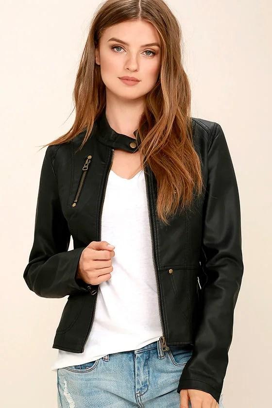 Peace of Mind Black Vegan Leather Moto Jacket - Lulus