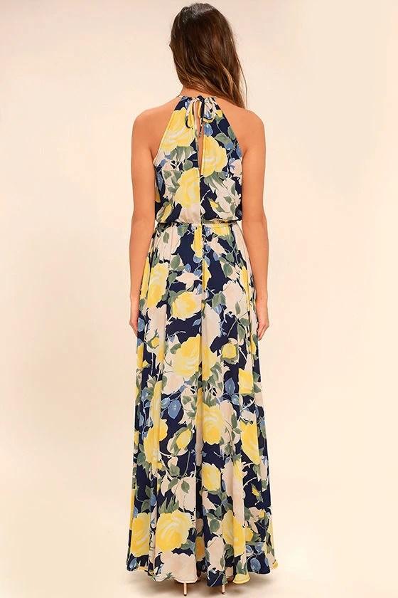 Stunning Floral Print Maxi Dress Blue And Yellow Maxi